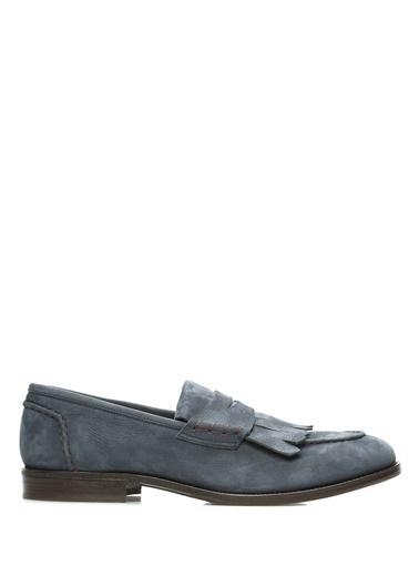 Brunello Cucinelli %100 Deri Loafer Ayakkabı Lacivert